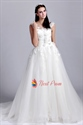 Scoop Neck Drop Waist Wedding Dress, Lace Appliques Wedding Dresses