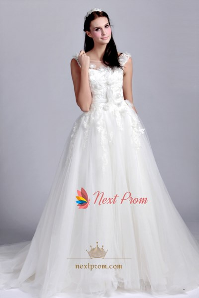 Scoop Neck Drop Waist Wedding Dress, Lace Appliques Wedding Dresses