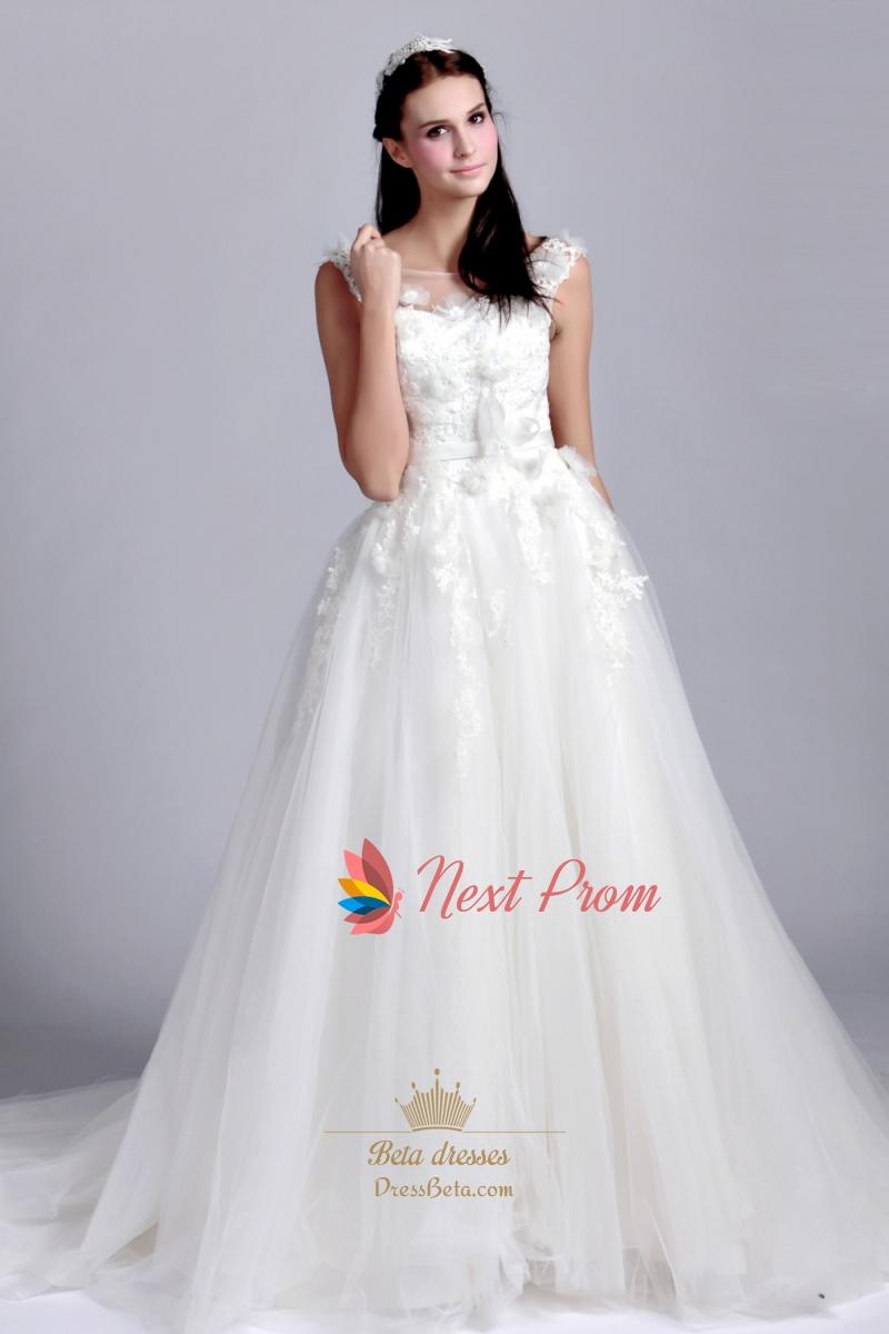 Scoop Neck Drop Waist Wedding Dress, Lace Appliques Wedding Dresses ...