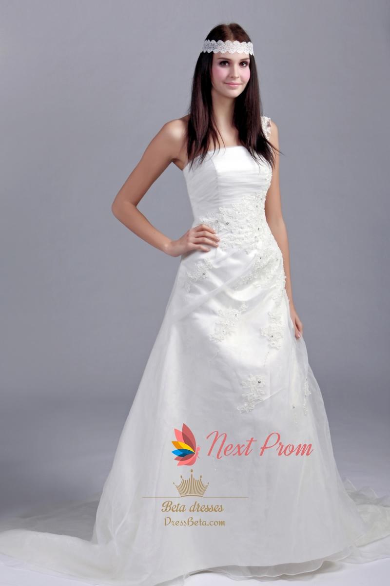 One Shoulder Organza Wedding Dress, One Shoulder A Line Wedding ...