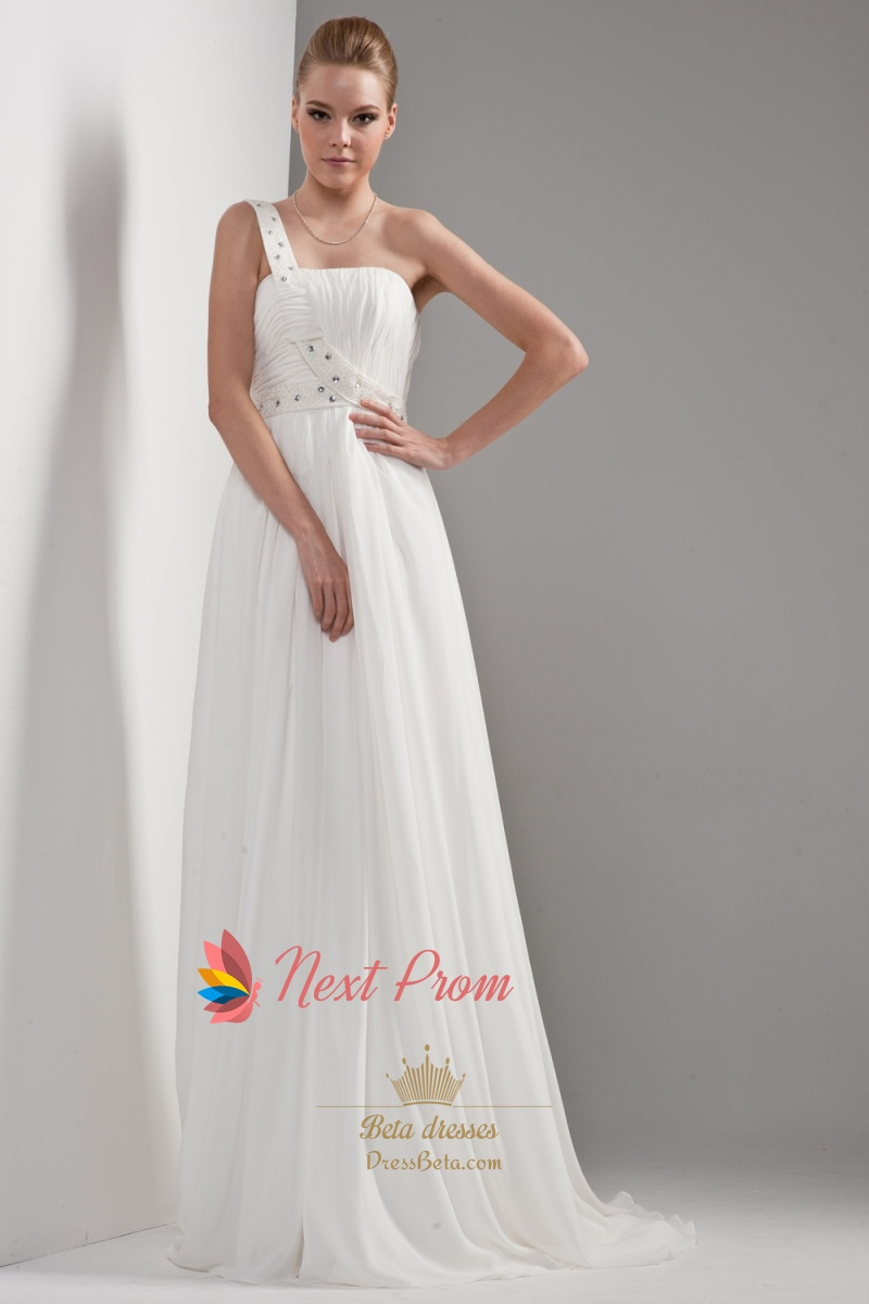 One shoulder chiffon beach wedding dress draped chiffon for Beach chiffon wedding dress