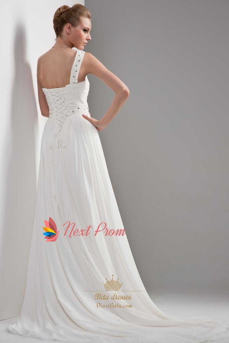 One shoulder chiffon beach wedding dress draped chiffon for One shoulder wedding dress