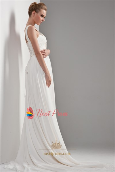 One Shoulder Chiffon Beach Wedding Dress, Draped Chiffon Wedding Dress