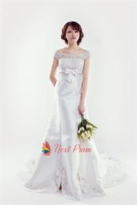 Satin Wedding Dress With Lace Sleeves, Lace Cap Sleeve Wedding Dress