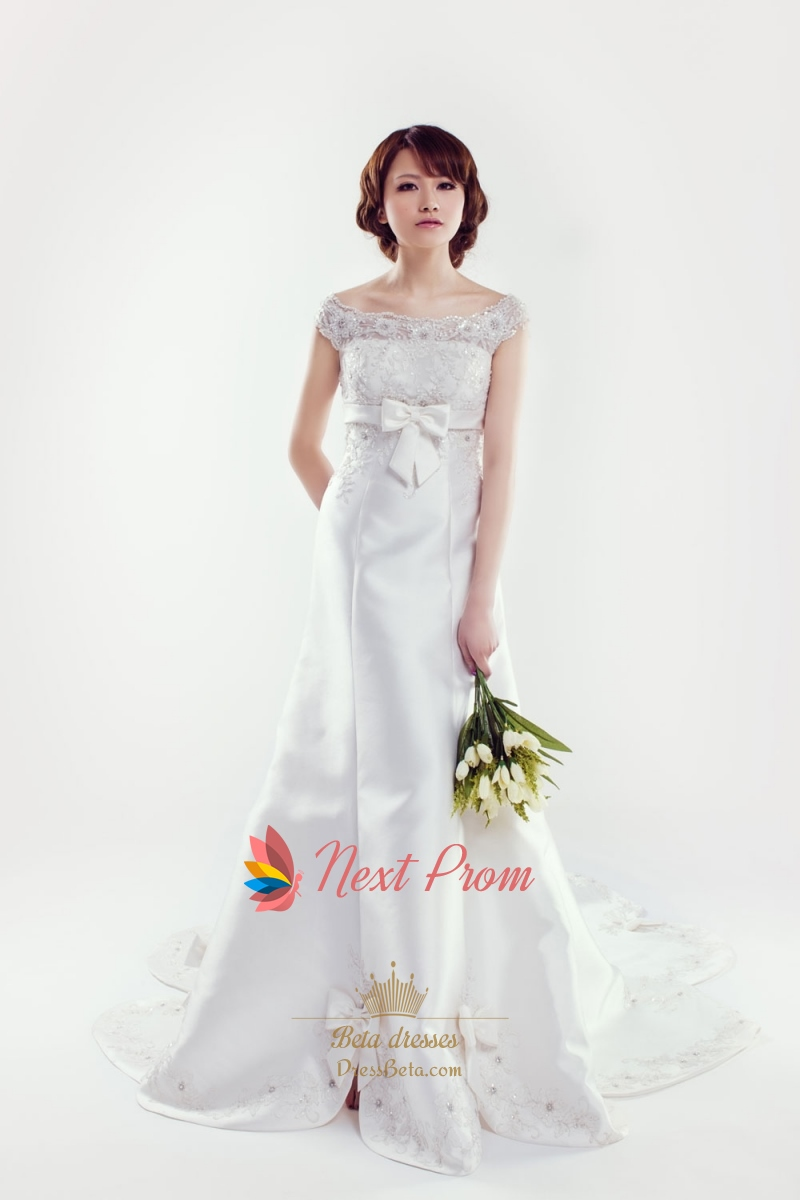 Satin wedding dress with lace sleeves lace cap sleeve for Silk wedding dresses with sleeves