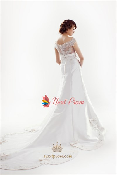 Satin Wedding Dress With Lace Sleeves, Lace Cap Sleeve Wedding Dress