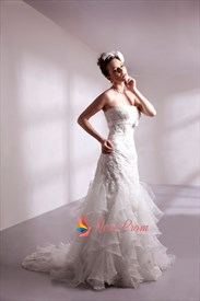Strapless Lace Wedding Dress With Sash,Lace Wedding Dress With Ruffles