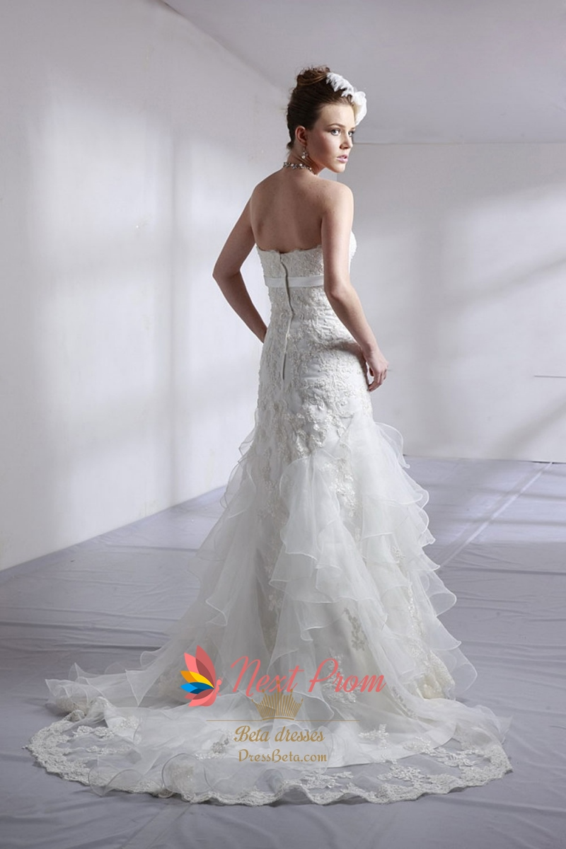 Strapless lace wedding dress with sash lace wedding dress for Strapless wedding dress with ruffles