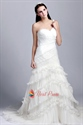 Gorgeous Pleated Mermaid One-Shoulder Ruffle Ball Gown Wedding Dresses