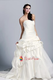 Ivory Satin Strapless Wedding Gown, Beaded Lace Applique Wedding Dress