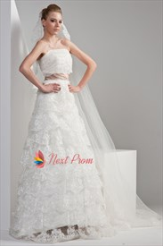 Strapless Lace Wedding Dress With Sash, Strapless Layered Wedding Dress