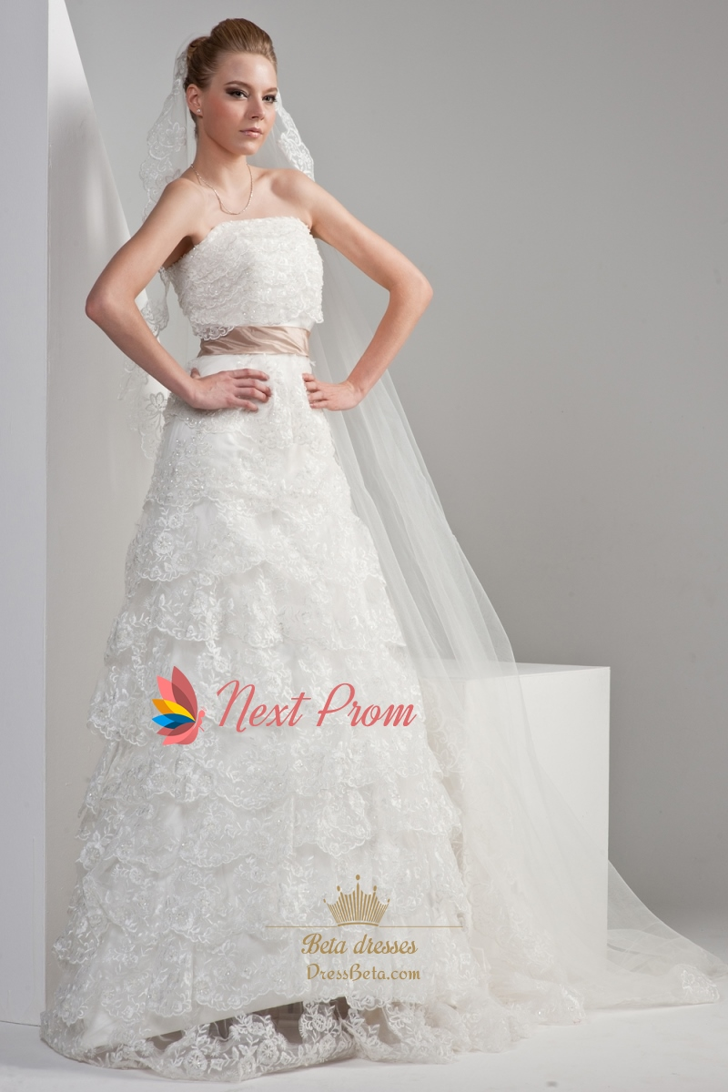 Strapless Lace Wedding Dress With Sash Strapless Layered