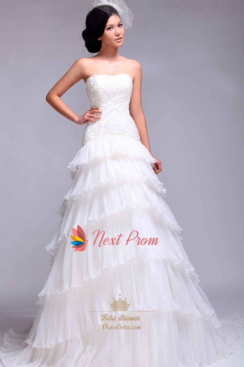 Layered Tulle Wedding Dress, Strapless A Line Beaded