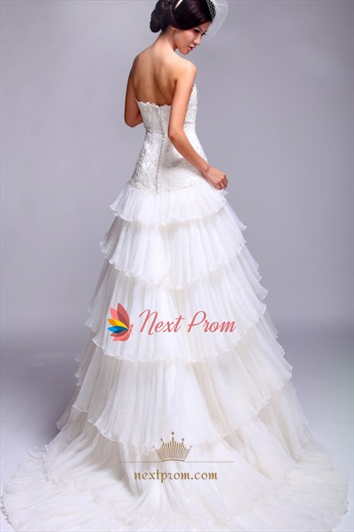 Layered Tulle Wedding Dress, Strapless A Line Beaded Wedding Dress
