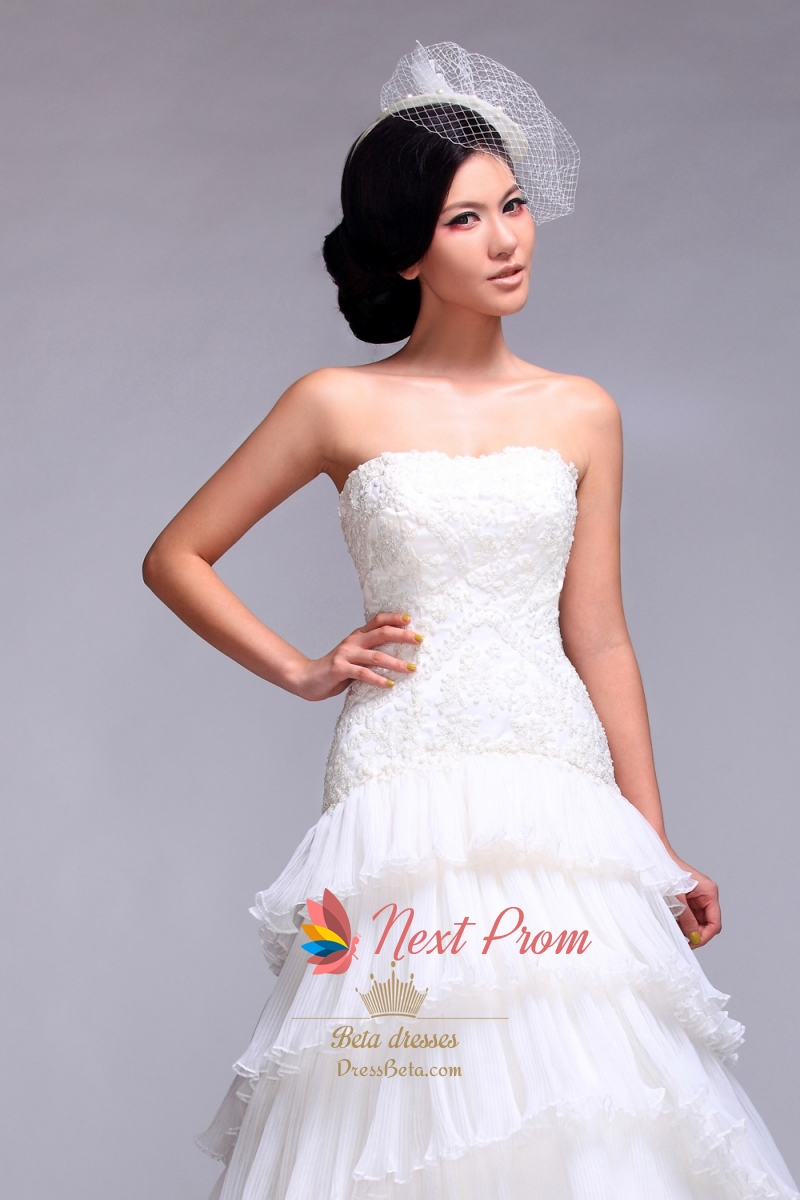 Layered tulle wedding dress strapless a line beaded for Organza layered wedding dress