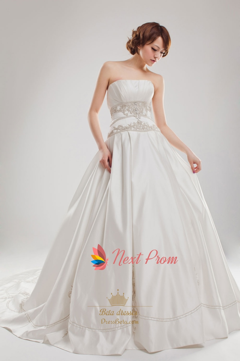 Embroidered Satin Wedding Dress, Embroidered Ball Gown Wedding ...
