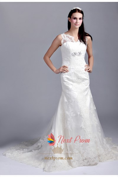 Lace Wedding Dress With Illusion Neckline, Mermaid Lace Wedding Dress