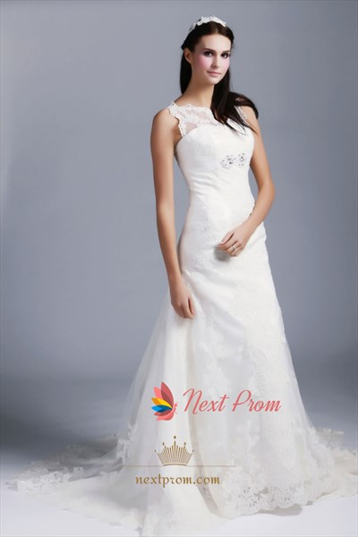 Lace Wedding Dress With Illusion Neckline, Mermaid Lace Wedding Dress