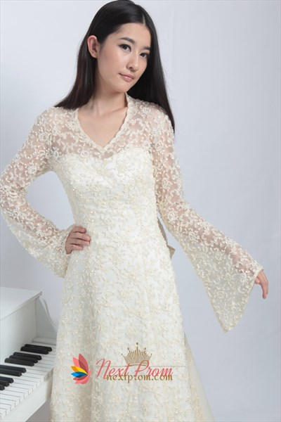 Elegant Wedding Dresses With Long Sleeves And Long Trains,Long Sleeved Wedding Dresses Vintage