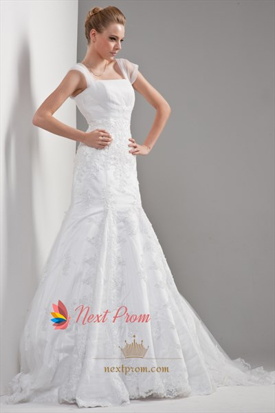 Mermaid Lace Wedding Dress With Sleeves,Beaded Wedding Dress Appliques