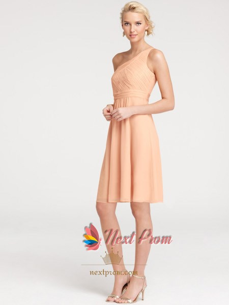 One-shoulder Casual Knee Length Beautifully Chiffon Bridesmaid Dress