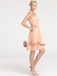 One-shoulder Casual Knee Length Beautifully Chiffon Bridesmaid Dress