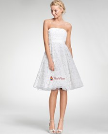 Flattering Embroidered Tea Length Strapless Dress