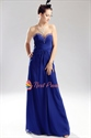 Royal Blue Chiffon Evening Dress, Chiffon Beaded Illusion Prom Dress