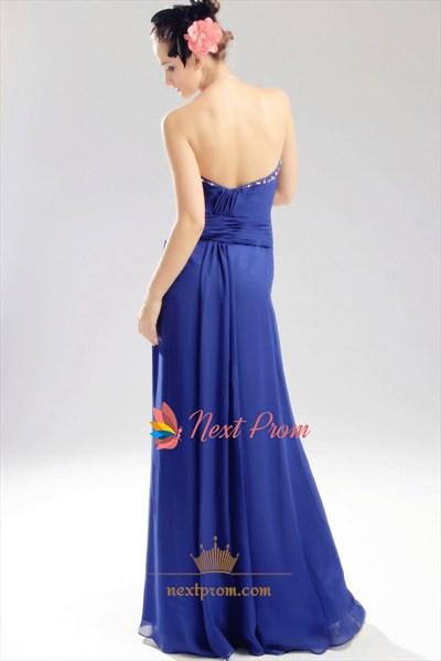 Royal Blue Chiffon Evening Dress, Chiffon Beaded Illusion Prom Dress
