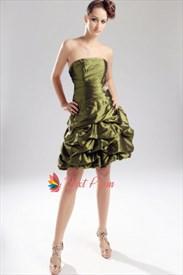 Olive Green Short Bridesmaid Dress, Strapless Olive Green Prom Dresses