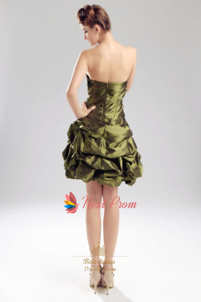 Olive green short bridesmaid dress strapless olive green for Olive green wedding dresses