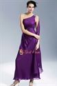 Violet Purple Prom Dress, Purple One Shoulder Chiffon Evening Gown