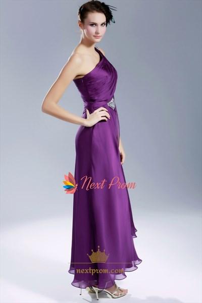Violet Purple Prom Dress, Purple One Shoulder Chiffon Evening Gown