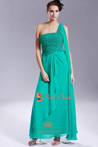 Hunter Green Chiffon One Shoulder A-Line Prom Dress, Hunter Green Chiffon Bridesmaid Dresses
