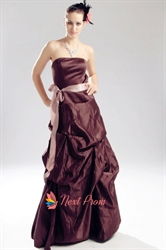 Brown Strapless Bridesmaid Dress, Taffeta Pick Up Bridesmaid Dresses