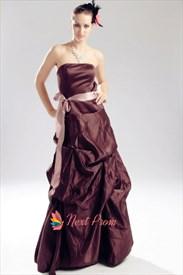 Brown Strapless Bridesmaid Dress, Taffeta Pick Up Bridesmaid Dresses