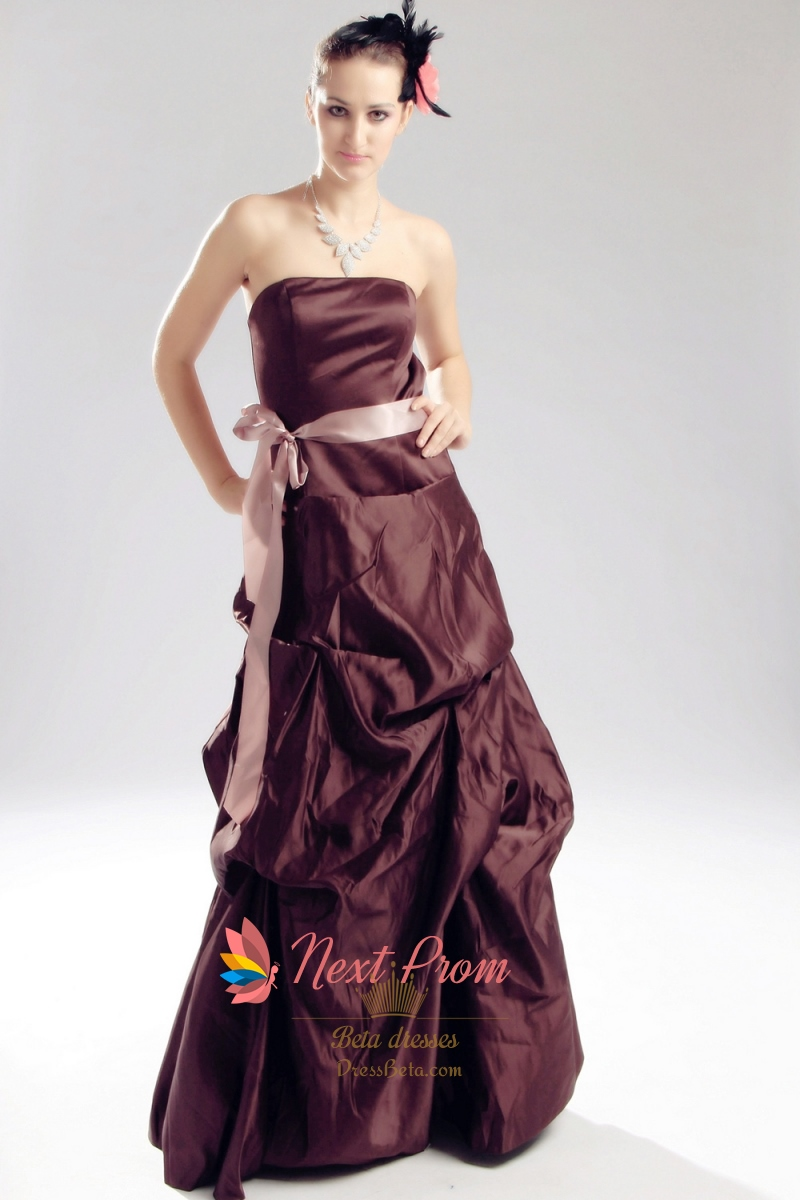 Brown strapless bridesmaid dress taffeta pick up for Pick up wedding dress