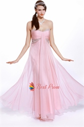 Pink Empire Waist Prom Dress, Chiffon Sweetheart Strapless Prom Dress