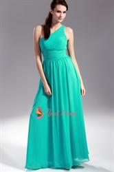 Jade Chiffon Bridesmaid Dresses, One Shoulder Pleated Chiffon Bridesmaid Dress