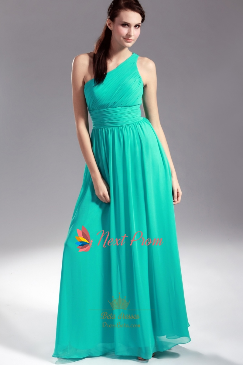 Jade Chiffon Bridesmaid Dresses, One Shoulder Pleated Chiffon ...