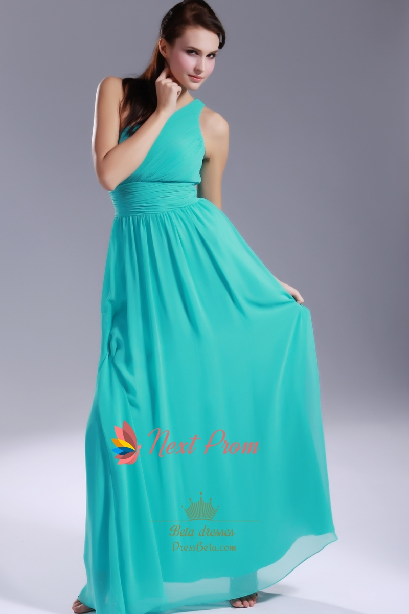 Jade chiffon bridesmaid dresses one shoulder pleated for Jade green wedding dresses