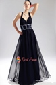 Criss Cross Back Prom Dresses, Navy Blue Chiffon Prom Dress