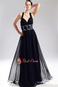 Criss Cross Back Prom Dresses, Navy Blue Chiffon Prom Dress