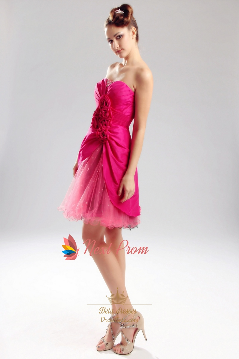 Hot Pink Taffeta Prom Dress Strapless Sweetheart Holiday