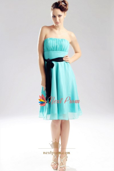 Mint Green Strapless Chiffon Dress, Knee Length Chiffon Bridesmaid Dress