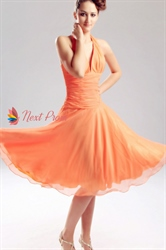 Halter Chiffon Bridesmaid Dresses, Chiffon Drop Waist Bridesmaid Dress
