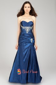 Long Royal Blue Strapless Prom Dress, A Line Sweetheart Prom Dresses