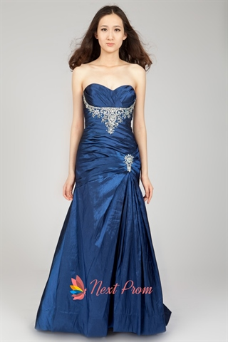 Long Royal Blue Strapless Prom Dress A Line Sweetheart