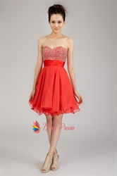 Short Chiffon Strapless Homecoming Dress, Chiffon Short Formal Dresses