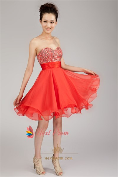 Short Chiffon Strapless Homecoming Dress, Chiffon Short Formal Dresses